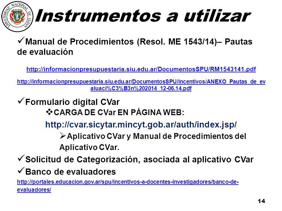 Instrumentos a utilizar