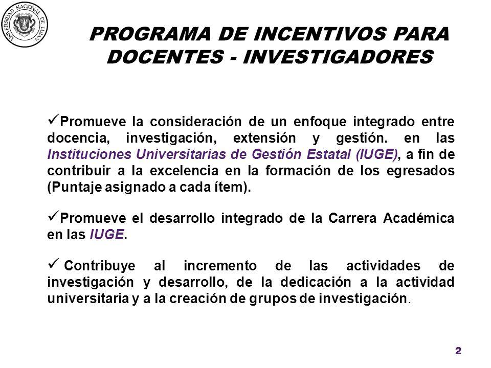 PROGRAMA DE INCENTIVOS PARA DOCENTES - INVESTIGADORES