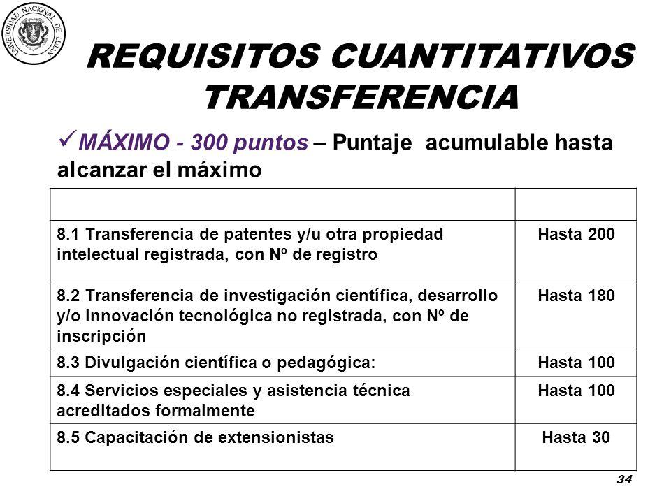 TRANSFERENCIA MÁXIMO - 300 puntos – Puntaje acumulable hasta alcanzar el máximo. PUNTAJE.