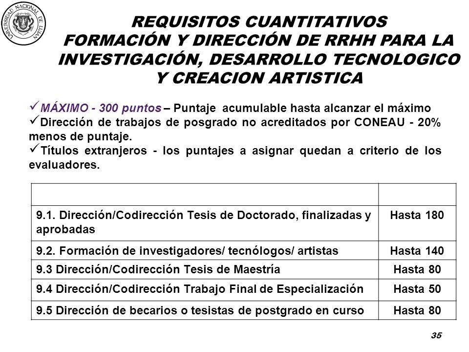 FORMACIÓN Y DIRECCIÓN DE RRHH PARA LA INVESTIGACIÓN, DESARROLLO TECNOLOGICO Y CREACION ARTISTICA