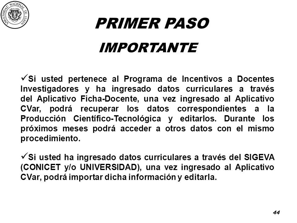PRIMER PASO IMPORTANTE