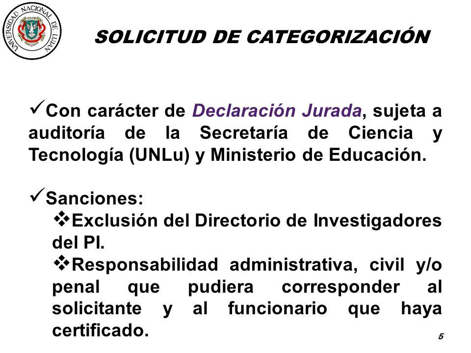 SOLICITUD DE CATEGORIZACIÓN
