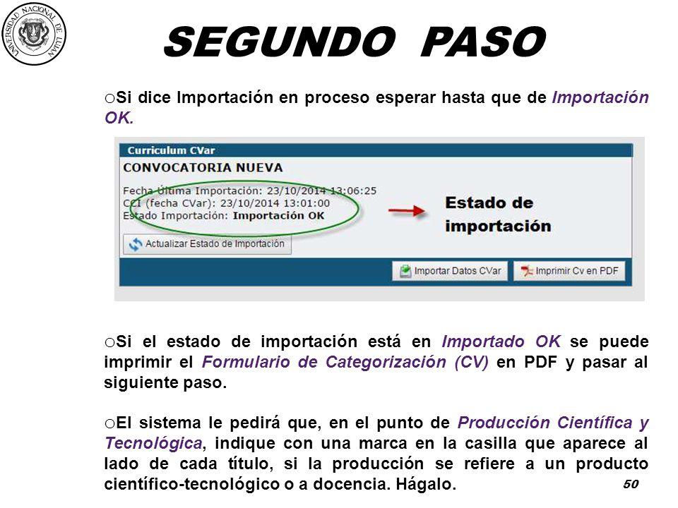 SEGUNDO PASO Si dice Importación en proceso esperar hasta que de Importación OK.