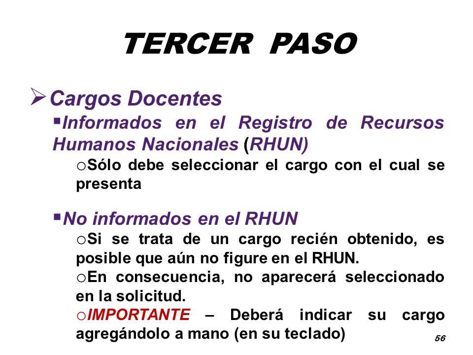 TERCER PASO Cargos Docentes