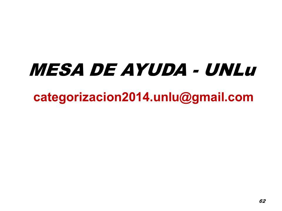 MESA DE AYUDA - UNLu categorizacion2014.unlu@gmail.com 62