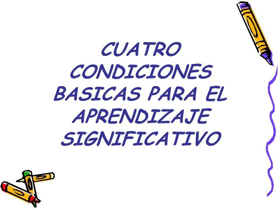 CUATRO CONDICIONES BASICAS PARA EL APRENDIZAJE SIGNIFICATIVO