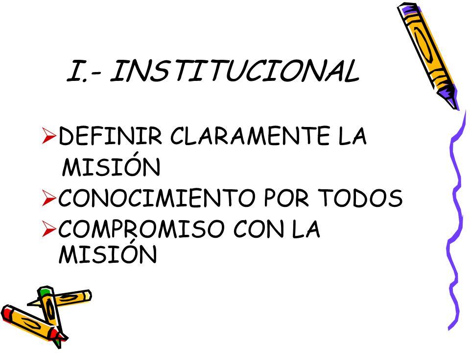 I.- INSTITUCIONAL DEFINIR CLARAMENTE LA MISIÓN CONOCIMIENTO POR TODOS
