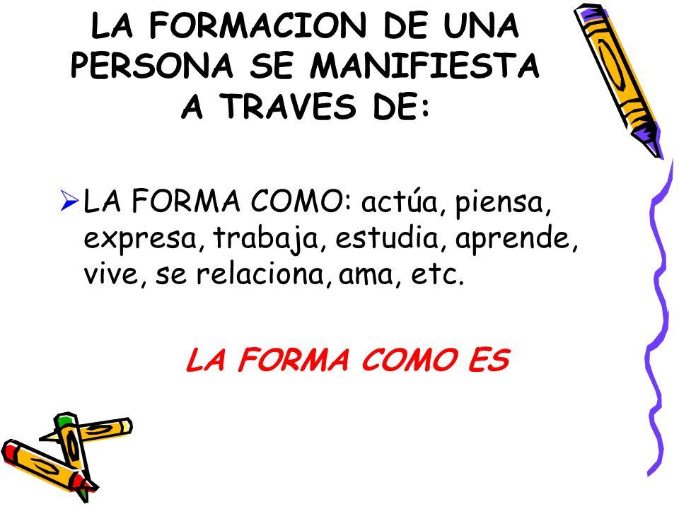 LA FORMACION DE UNA PERSONA SE MANIFIESTA A TRAVES DE: