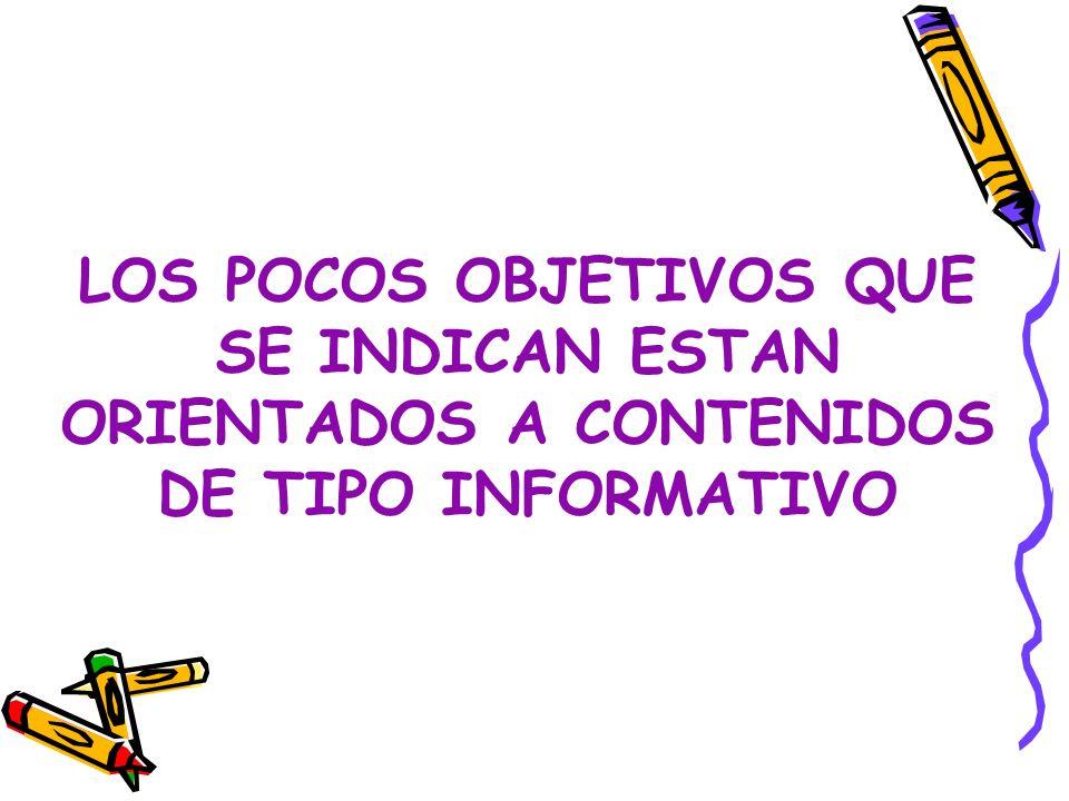 LOS POCOS OBJETIVOS QUE SE INDICAN ESTAN ORIENTADOS A CONTENIDOS DE TIPO INFORMATIVO