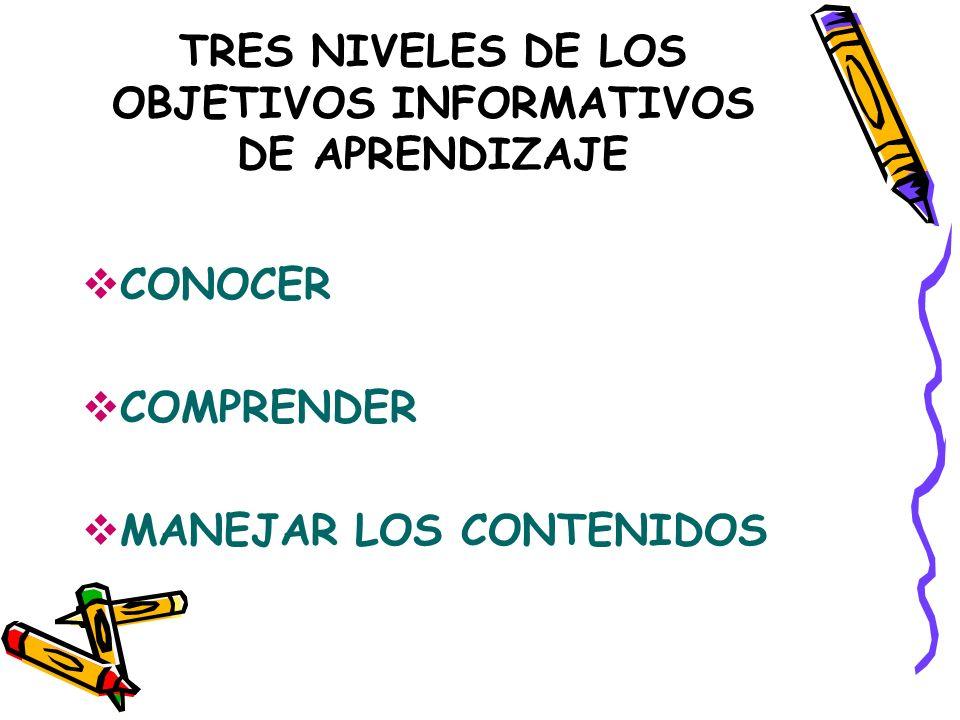 TRES NIVELES DE LOS OBJETIVOS INFORMATIVOS DE APRENDIZAJE