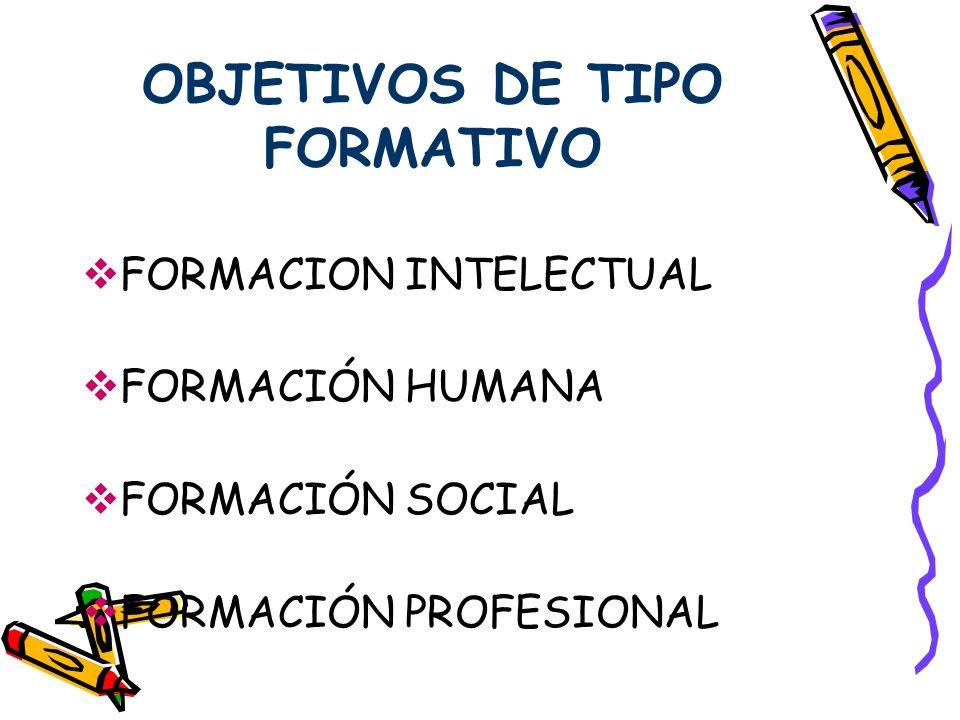 OBJETIVOS DE TIPO FORMATIVO
