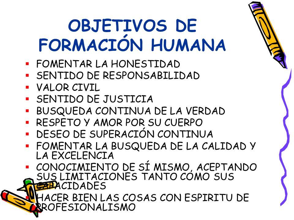 OBJETIVOS DE FORMACIÓN HUMANA