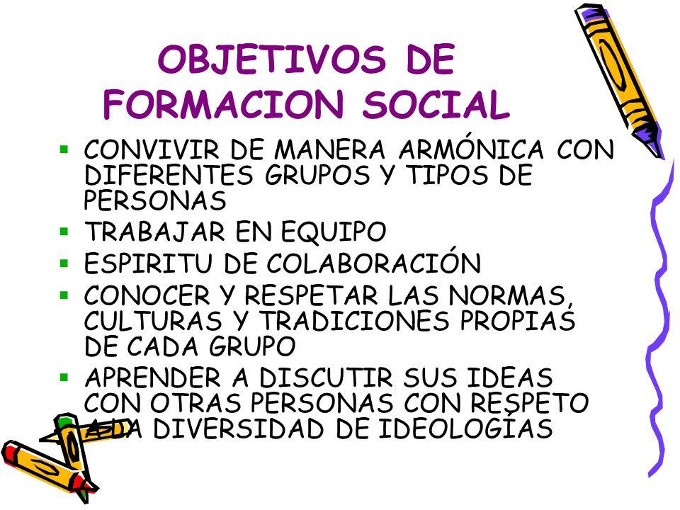 OBJETIVOS DE FORMACION SOCIAL