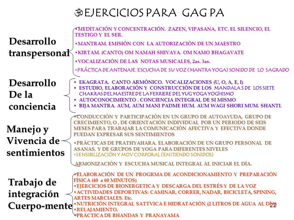 EJERCICIOS PARA GAG PA Desarrollo transpersonal Desarrollo De la