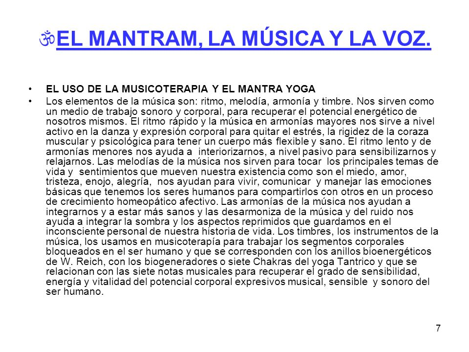 EL MANTRAM, LA MÚSICA Y LA VOZ.