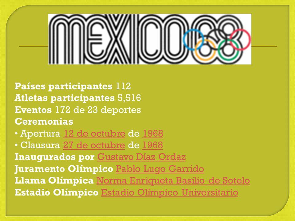 Países participantes 112 Atletas participantes 5,516. Eventos 172 de 23 deportes.