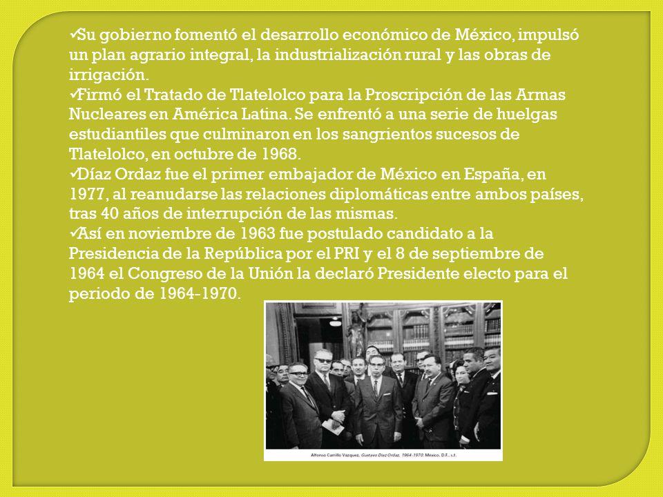 Su gobierno fomentó el desarrollo económico de México, impulsó un plan agrario integral, la industrialización rural y las obras de irrigación.