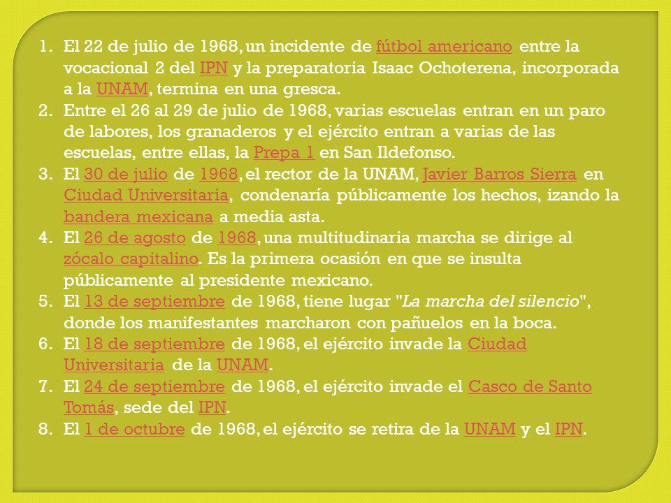 El 22 de julio de 1968, un incidente de fútbol americano entre la vocacional 2 del IPN y la preparatoria Isaac Ochoterena, incorporada a la UNAM, termina en una gresca.