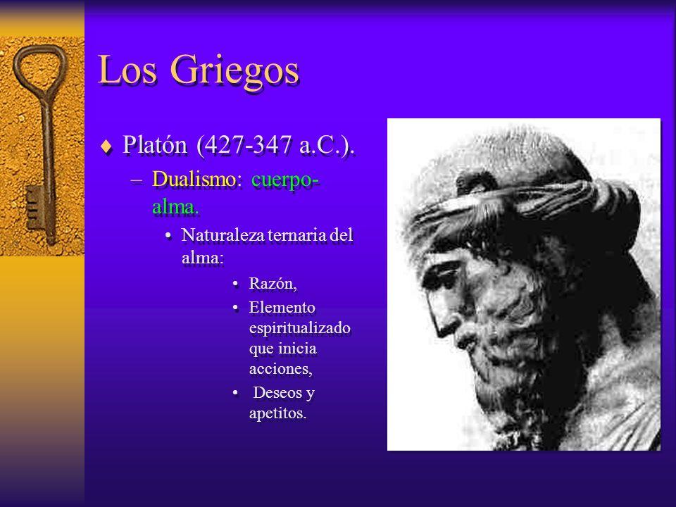 Los Griegos Platón (427-347 a.C.). Dualismo: cuerpo-alma.