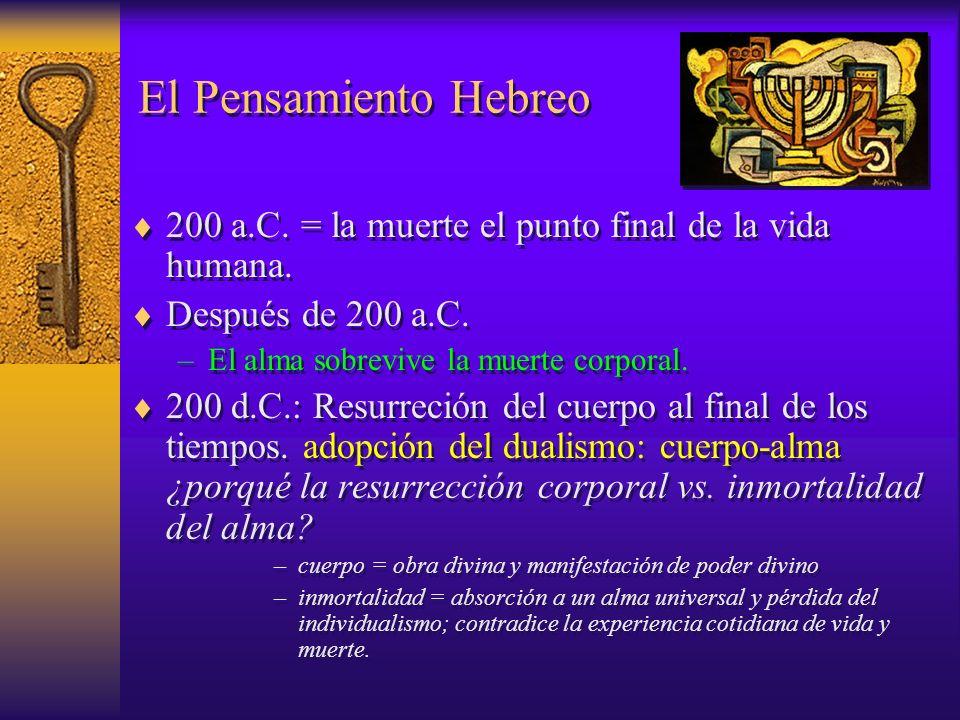 El Pensamiento Hebreo 200 a.C. = la muerte el punto final de la vida humana. Después de 200 a.C. El alma sobrevive la muerte corporal.