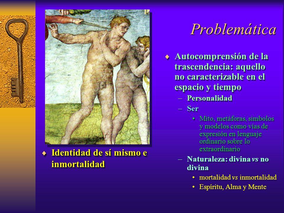 Problemática Identidad de sí mismo e inmortalidad. Autocomprensión de la trascendencia: aquello no caracterizable en el espacio y tiempo.