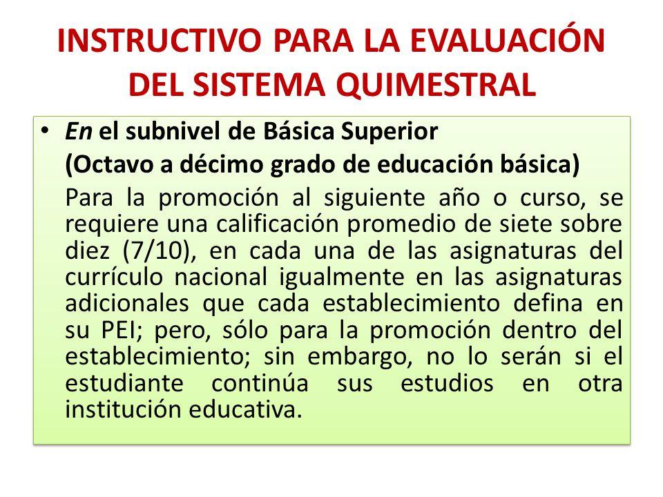 INSTRUCTIVO PARA LA EVALUACIÓN DEL SISTEMA QUIMESTRAL