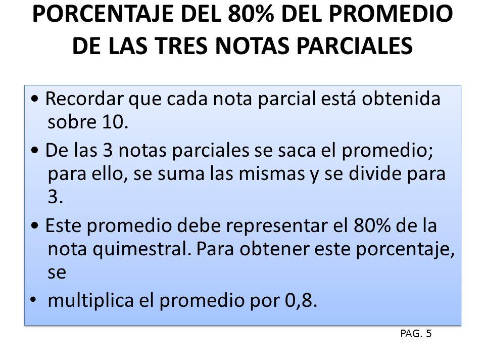 PORCENTAJE DEL 80% DEL PROMEDIO DE LAS TRES NOTAS PARCIALES