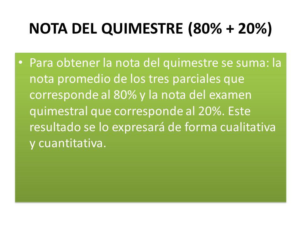 NOTA DEL QUIMESTRE (80% + 20%)