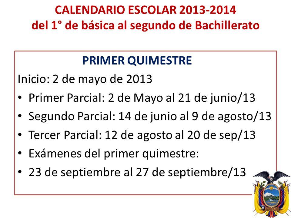 CALENDARIO ESCOLAR 2013-2014 del 1° de básica al segundo de Bachillerato