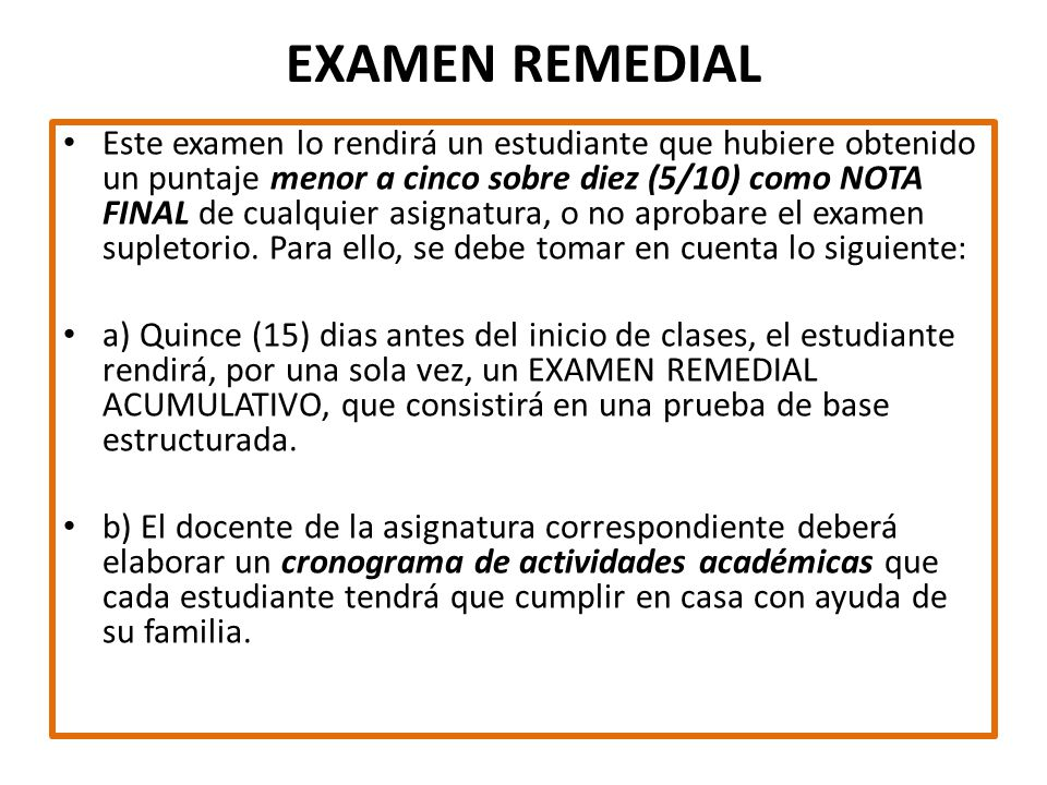 EXAMEN REMEDIAL