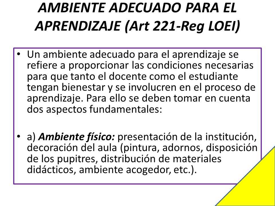 AMBIENTE ADECUADO PARA EL APRENDIZAJE (Art 221-Reg LOEI)