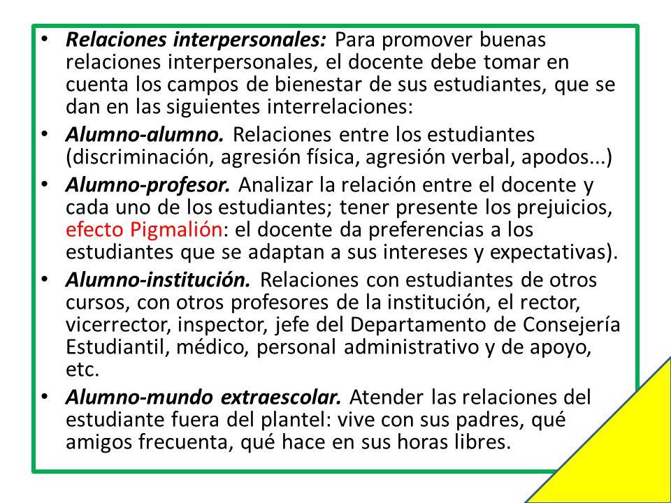 Relaciones interpersonales: Para promover buenas relaciones interpersonales, el docente debe tomar en cuenta los campos de bienestar de sus estudiantes, que se dan en las siguientes interrelaciones: