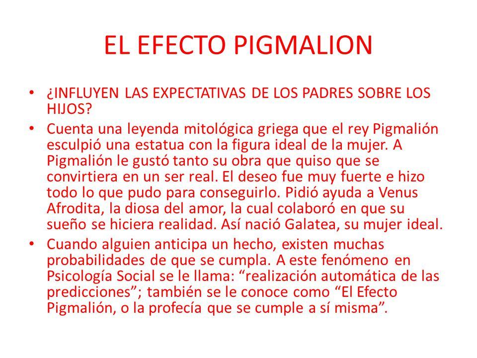 EL EFECTO PIGMALION ¿INFLUYEN LAS EXPECTATIVAS DE LOS PADRES SOBRE LOS HIJOS