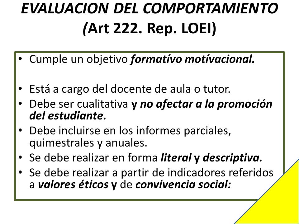 EVALUACION DEL COMPORTAMIENTO (Art 222. Rep. LOEI)