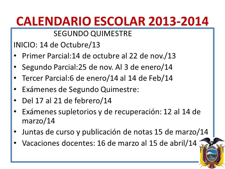CALENDARIO ESCOLAR 2013-2014 SEGUNDO QUIMESTRE