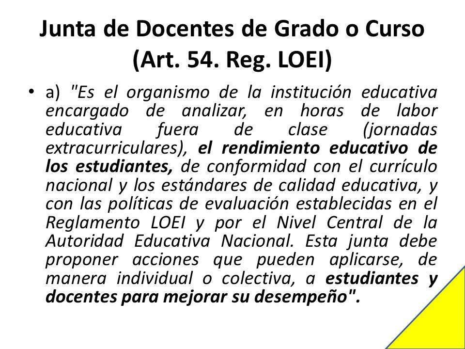 Junta de Docentes de Grado o Curso (Art. 54. Reg. LOEI)