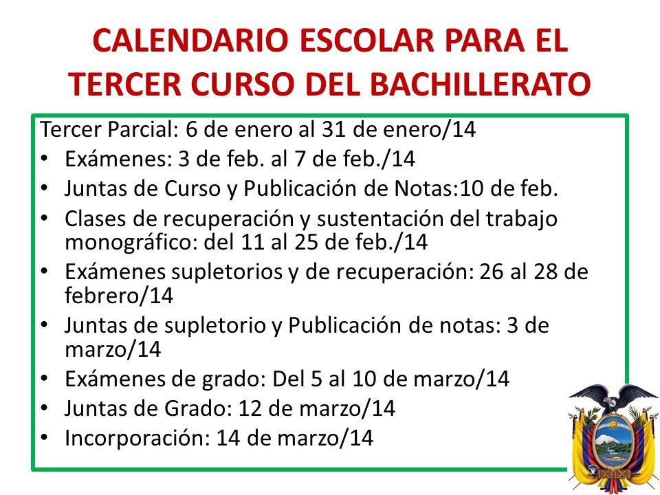 CALENDARIO ESCOLAR PARA EL TERCER CURSO DEL BACHILLERATO