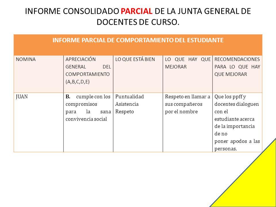 INFORME CONSOLIDADO PARCIAL DE LA JUNTA GENERAL DE DOCENTES DE CURSO.