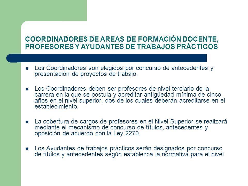 COORDINADORES DE AREAS DE FORMACIÓN DOCENTE, PROFESORES Y AYUDANTES DE TRABAJOS PRÁCTICOS