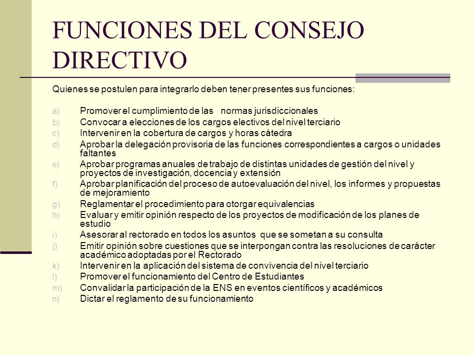 FUNCIONES DEL CONSEJO DIRECTIVO
