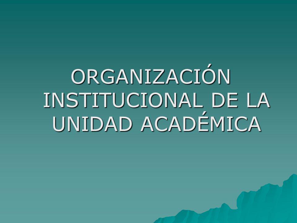 ORGANIZACIÓN INSTITUCIONAL DE LA UNIDAD ACADÉMICA