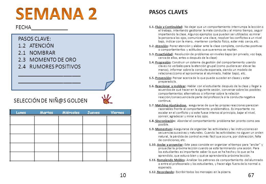 SEMANA 2 PASOS CLAVES FECHA_____________ PASOS CLAVE: 1.2 ATENCIÓN