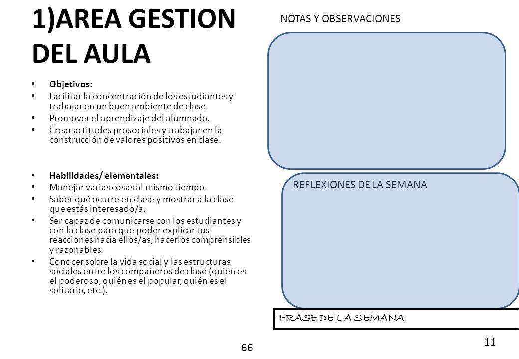 1)AREA GESTION DEL AULA NOTAS Y OBSERVACIONES REFLEXIONES DE LA SEMANA