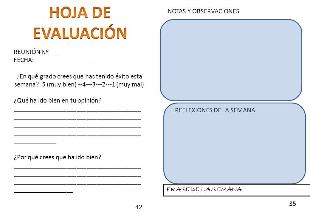 HOJA DE EVALUACIÓN NOTAS Y OBSERVACIONES REUNIÓN Nº___