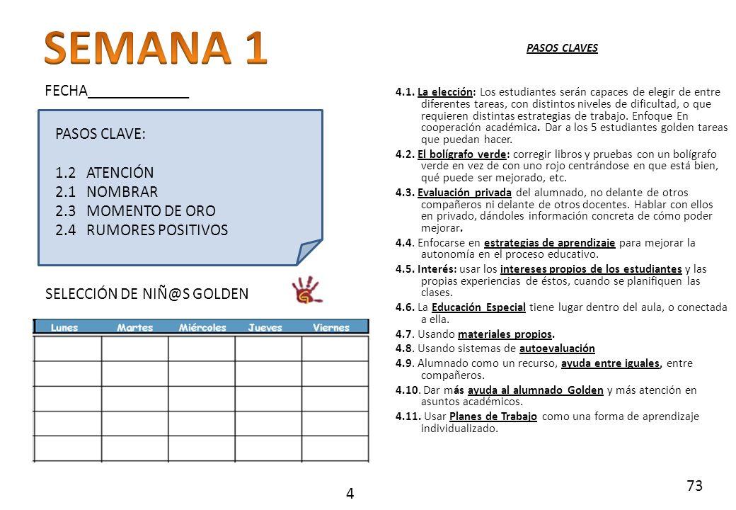 SEMANA 1 FECHA_____________ PASOS CLAVE: 1.2 ATENCIÓN 2.1 NOMBRAR