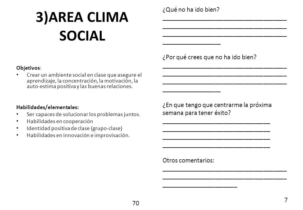 3)AREA CLIMA SOCIAL ¿Qué no ha ido bien