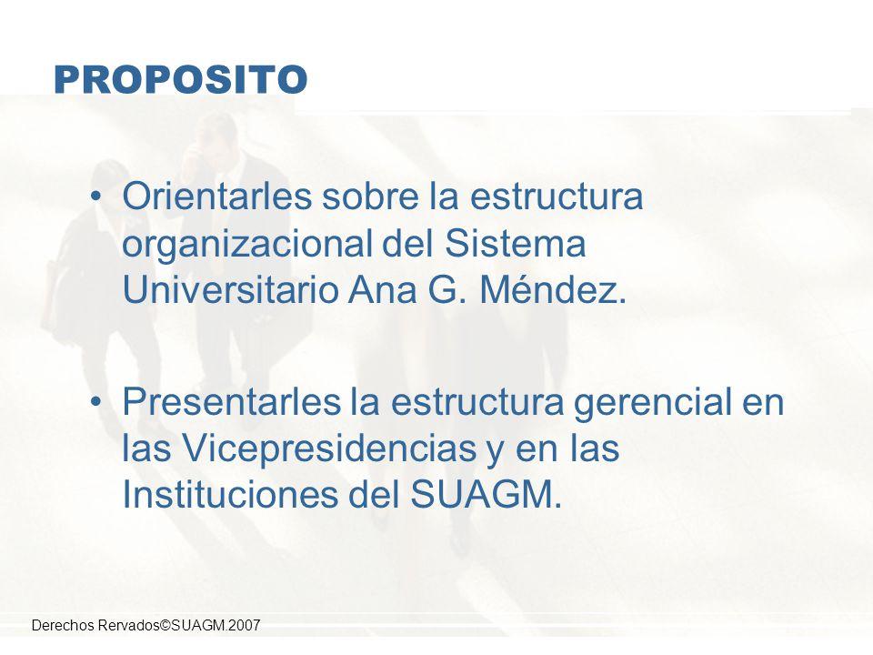 PROPOSITO Orientarles sobre la estructura organizacional del Sistema Universitario Ana G. Méndez.
