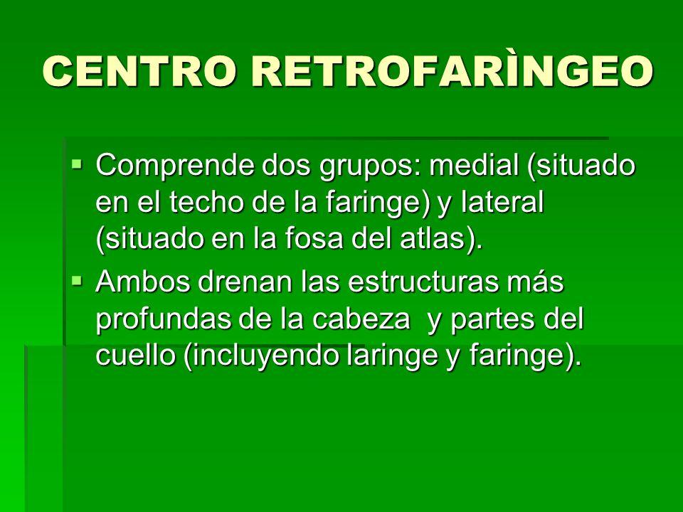 CENTRO RETROFARÌNGEO Comprende dos grupos: medial (situado en el techo de la faringe) y lateral (situado en la fosa del atlas).