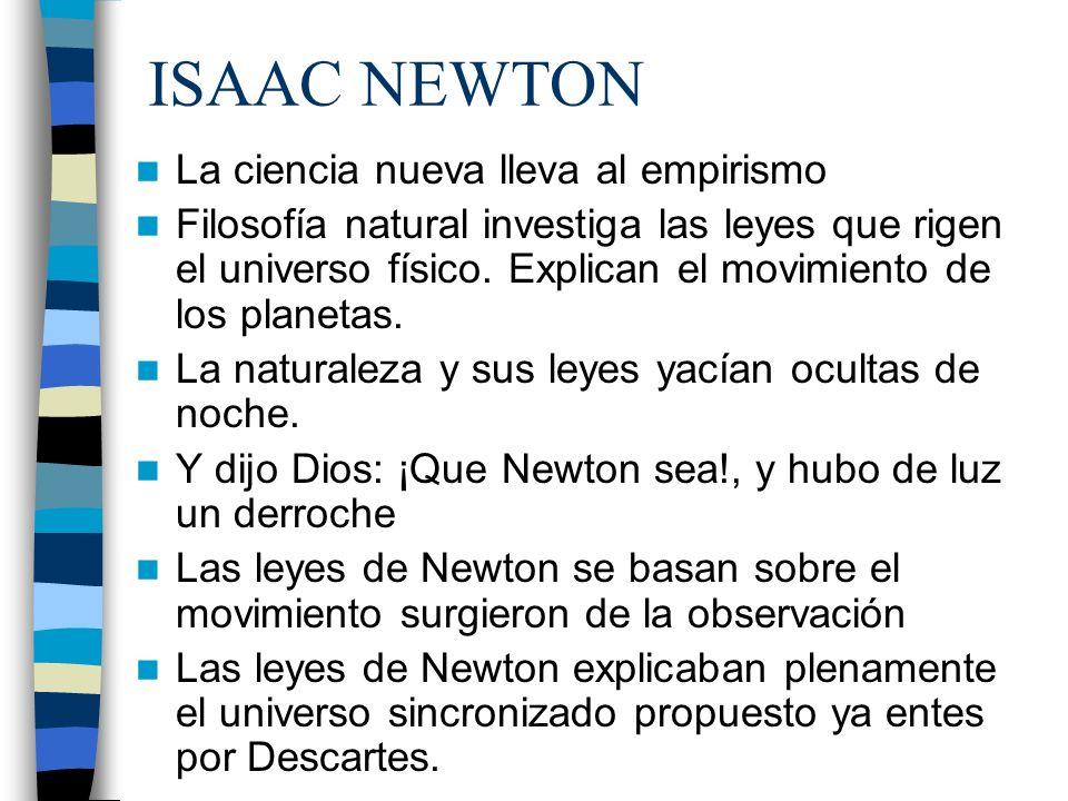 ISAAC NEWTON La ciencia nueva lleva al empirismo