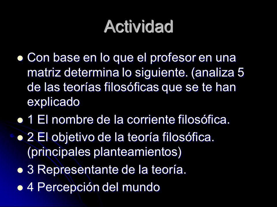 Actividad Con base en lo que el profesor en una matriz determina lo siguiente. (analiza 5 de las teorías filosóficas que se te han explicado.